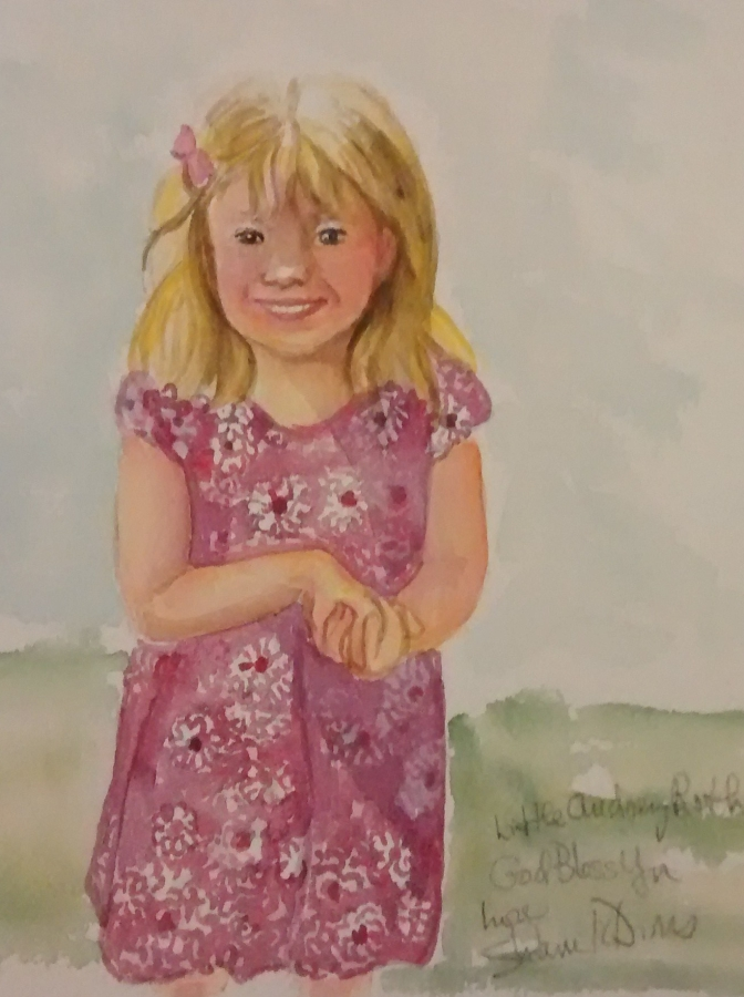 watercolor painting of 4-year-old girl