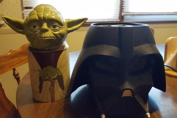 Yoda cookie jar and Darth Vader toaster